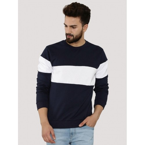 Blotch Blue & White Contrast Panel Sweatshirt