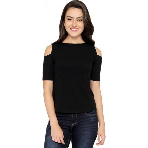 88dc5db8f55 Buy Chimpaaanzee Black Cold Shoulder Partywear Solid Women's Top ...