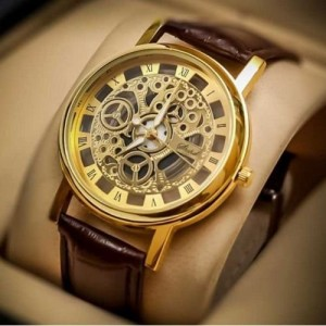 Sai Enterprises Round Dial Brown Leather Strap Quartz Watch For Men