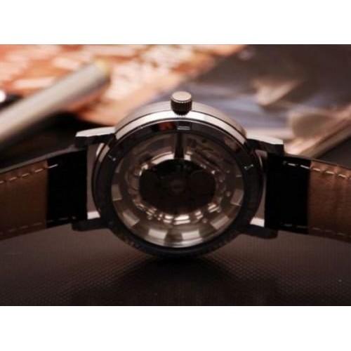 Sai Enterprises Round Dial Brown Leather Strap Quartz Watch For Men
