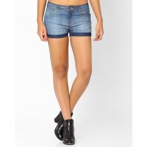 Ajio Blue Cotton Denim Distressed Denim Shorts