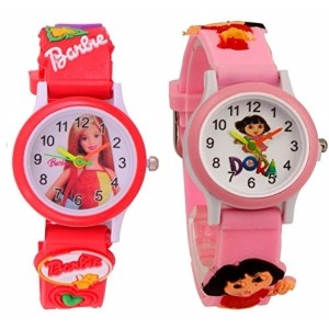 S S TRADERS -Red barbie Analog Watch And Pink Dora Analog Watches for Kids- Best Birth Day Return - kids watches(Pack of 2)