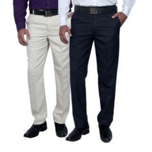 24a3ba3e7a6 Routeen Wall Street Slim Fit Formal Trousers for Men - Multi (Combo Pack of  2