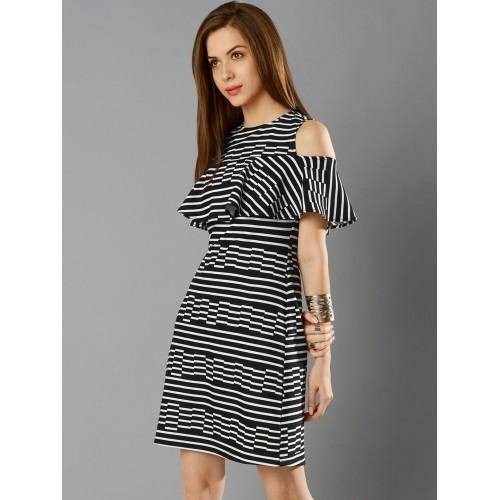 c4c37988e55 ... FabAlley Women Black & White Cold Shoulder Striped A-Line Dress ...