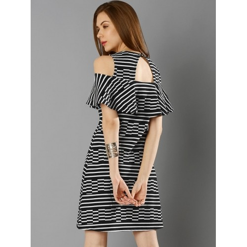 fc7e76d4811 Buy FabAlley Women Black & White Cold Shoulder Striped A-Line Dress ...