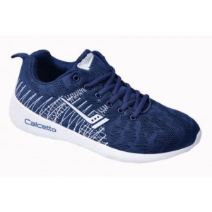 Calcetto Brand Mens Navy White Sports Shoes 7719