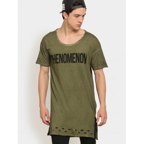 Buy Abof Men Olive Green CPD Regular Fit Ripped Longline T-shirt ... 338a9ff13e89