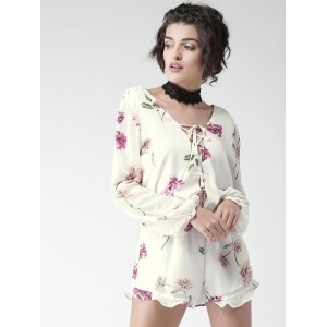 FOREVER 21 White Floral Print Polyester Playsuit