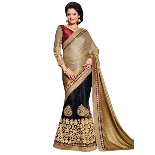 96130e3064b41a Buy Cbazaar Black And Beige Aari Work Half N Half Saree online | Looksgud.in