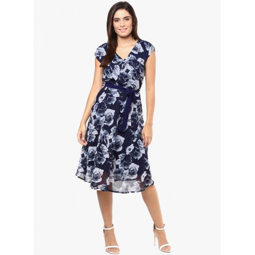 Harpa Women's Fit and Flare Blue Dress