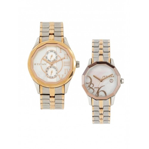d144f56852 Titan Bandhan NH19622962KM01 Set of 2 His & Her Pearly White Dial Watches.
