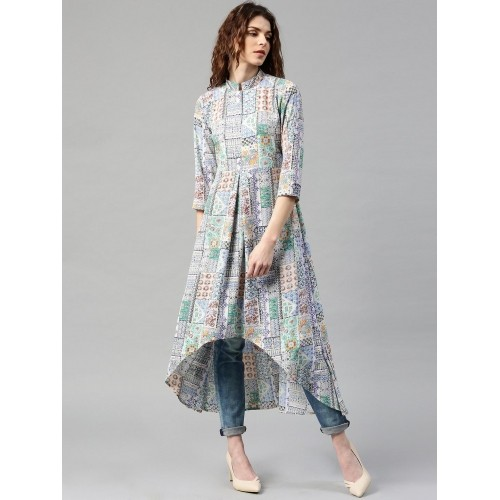 Libas Multicoloured Polyester Printed High-Low Hem A-Line Kurta