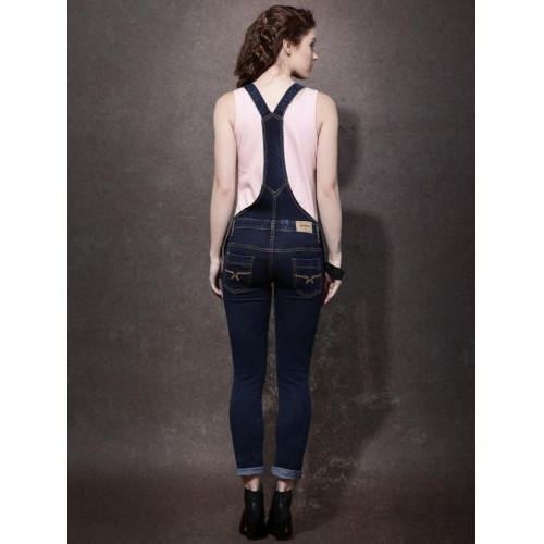 Roadster Blue Cotton Distressed Denim Dungarees
