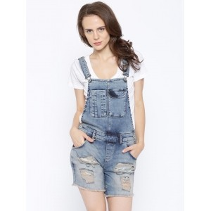 ONLY Blue Ripped Denim Dungarees