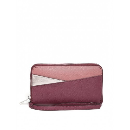 44380fe6d ... Parfois Women Wine-Coloured Colourblocked Zip-Around Wallet ...