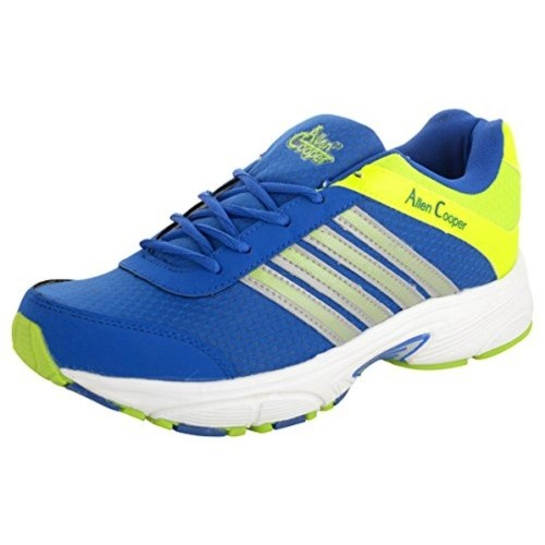 Allen Cooper Men's Blue and Green Running Shoes