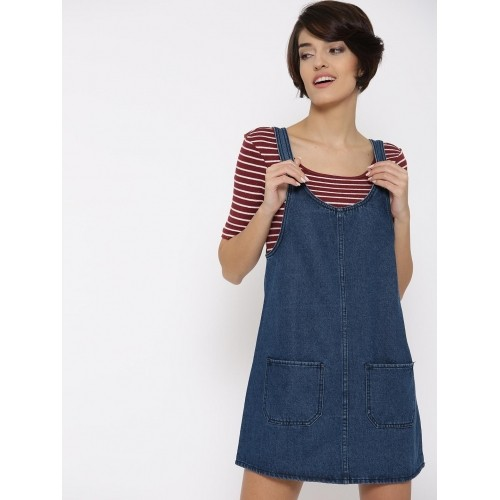 712e98b2a0 Buy FOREVER 21 Women Blue Solid Denim Dungaree Dress online ...