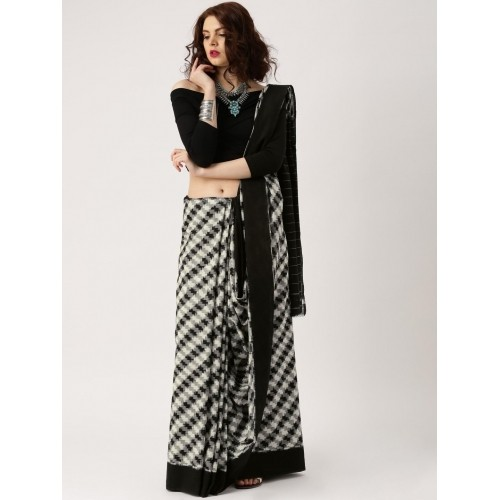 gocoop Black & White Pochampally Traditional Saree