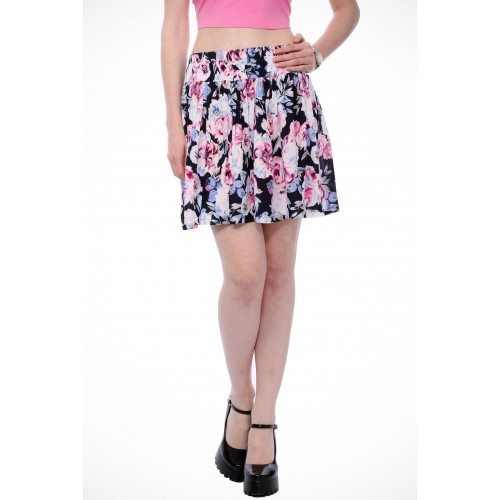 Scorpius Floral Print Women's Pleated Multicolor Skirt