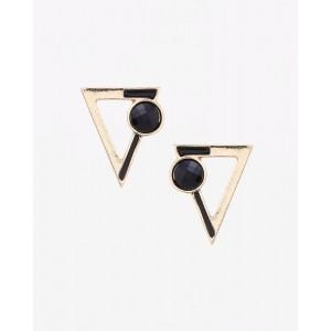AJIO Golden Alloy Triangular Stud Earrings