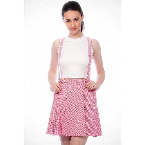 Scorpius Checkered Women's Pleated Pink Skirt