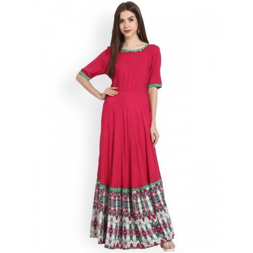 a9fee90c113 Buy NAYO Pink Printed rayon flared Floor Length kurta online ...