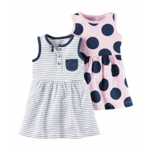 Carter's White & Pink Cotton Jersey Printed Frocks - Set of 2