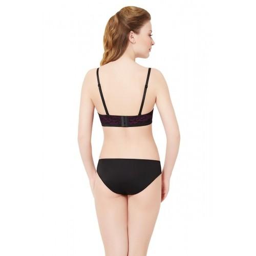 Amante Black & Pink Convertible Floral Lace Bikini Panty