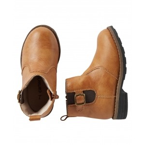 Carter's Brown Leather Comfort Fit Boots with Buckle Design