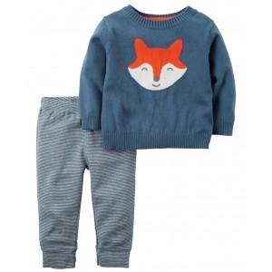 Carter's Blue Full Sleeves Fox Designed Night Suit