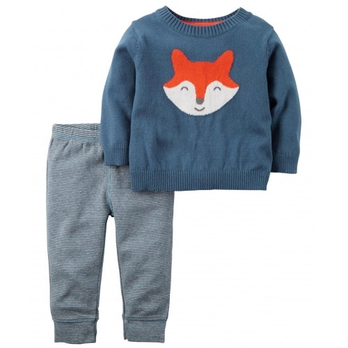 Carter's Blue Full Sleeves Fox Designed Night Suit