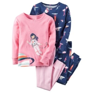 Carter's Pink & Blue Cotton Printed Night Suit - Pack of 2