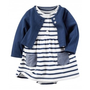 Carter's White & Blue Cotton Jersey Striped Frock with Solid Jacket