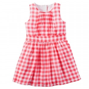 Carter's Pink Polyester Gingham Sleeveless Frock