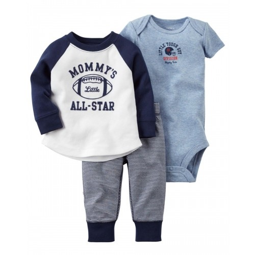 Carters Navy Blue Cotton Polyester Bodysuit & Pant Set