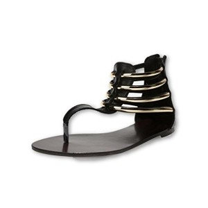 Abof Black Synthetic Flats Gladiator Sandals