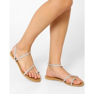 AJIO Silver Braided Toe-Ring Flat Sandal