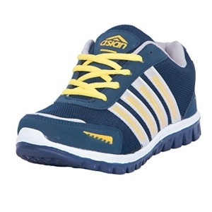 Asian JUMP 03 Navy Blue & Yellow Mesh Running Shoes