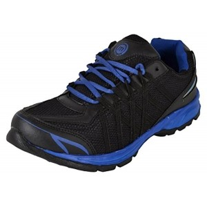 MICATO Black & Blue Synthetic Leather & Mesh Training Shoes