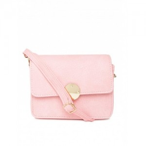 DressBerry Baby Pink Synthetic Leather Sling Bag
