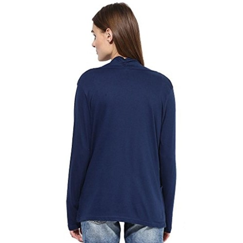 Espresso Women's Full Sleeve Front Open Cotton-Modal Shrugs/Cardigans - A Pack of 2 - Coral/Navy Blue