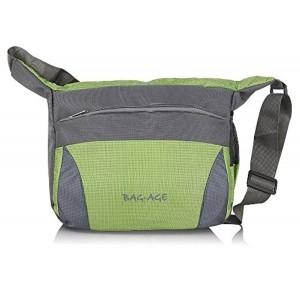 Bag-Age Gray & Green Polyester Messenger Bag And Sling Bag