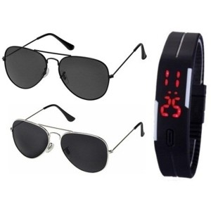 SUNGLASSES VM-KYMQ-9KZ7 BEST GIFT SETS COMBO OF SILVER BLACK MERCURY AVIATOR SUN GLASSES AND FULL BLACK AVIATOR GOGGLES (GOGALS) WITH TPU BAND RED LED DIGITAL BLACK DIAL UNISEX WATCH