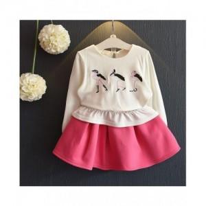 Kidslounge Off White & Pink Long Sleeve Frock