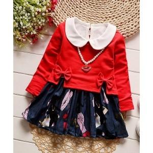 Petite Kids Red & Blue Peter Pan Collar Jacket & Dress Set