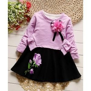 Petite Kids Lavender & Black  Floral Applique Top & Skirt Set