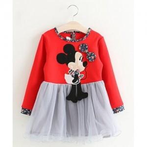 Petite Kids Full Sleeves Dress Minnie Applique - Red