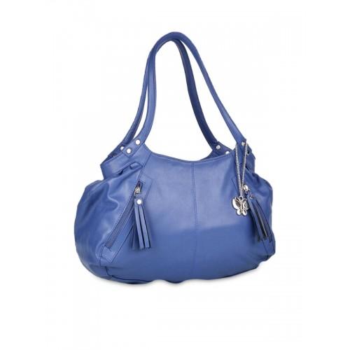 Butterflies Blue Polyurethane Solid Handbag