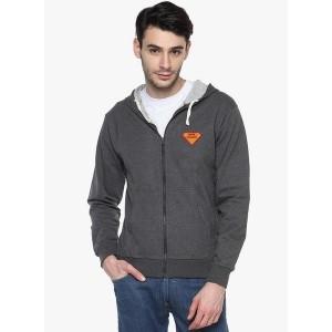 Campus Sutra Grey Solid SweatShirt for Men
