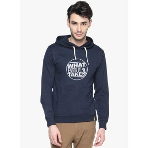 Campus Sutra Navy Blue Printed Sweatshirt for Men